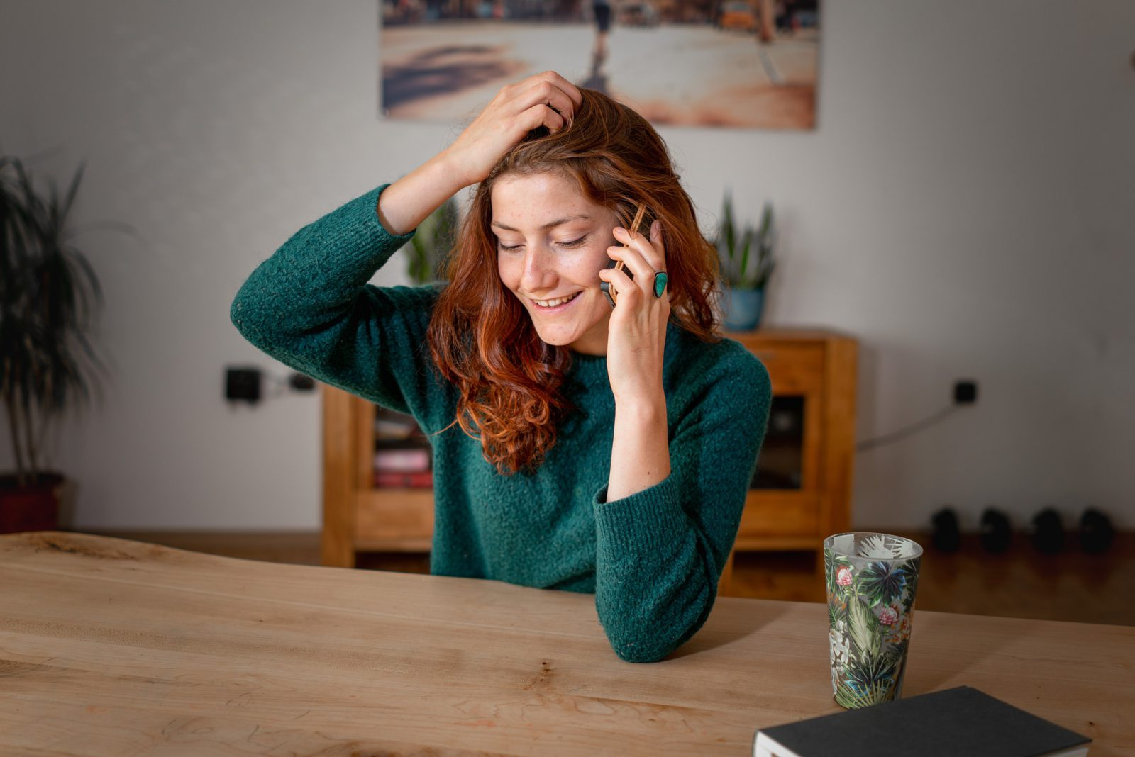 Woman talking over the phone